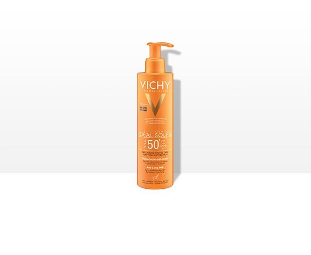 תחליב דוחה חול להגנה גבוהה על העור מפני נזקי השמש SPF50+  מתאים לשימוש על עור הפנים והגוף